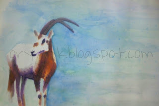 """Scimitar Oryx"" watercolor painting by Oryx Ink"