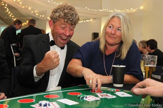 "L-R: Mike van Workum, Havelock North, Denise Clark, Havelock North, at a ""CF Casino Night - Viva Las Vegas"", at Havelock North Function Centre, organised by Hawke's Bay Branch of Cystic Fibrosis Association photograph"