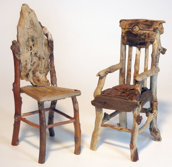 Two Miniature Rustic Twig Chairs By George C. Clark (approximate Height 8  Inches)