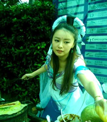 上海 美女 賣蛋餅 嫦娥下凡