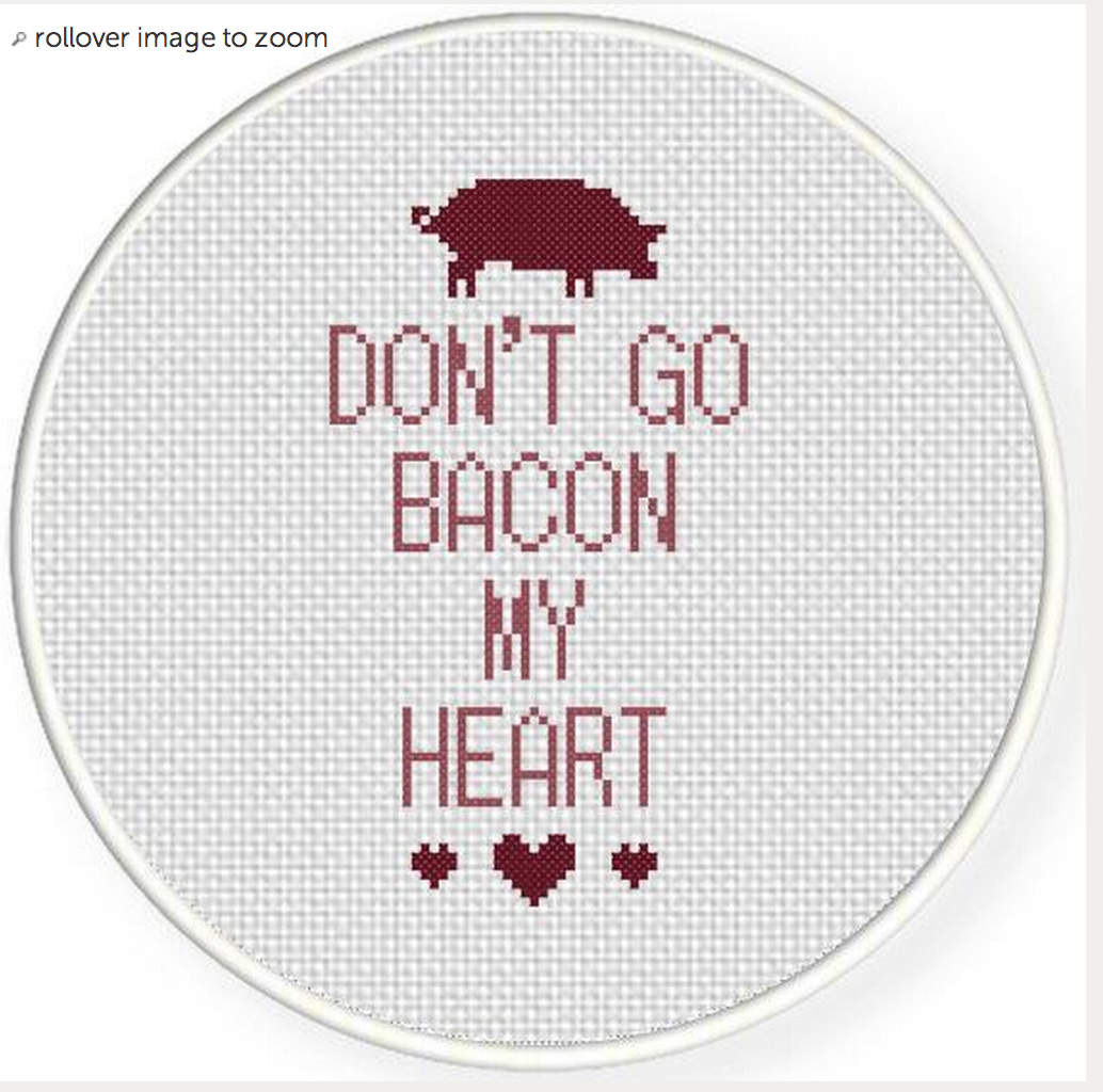 Travolta Bacon Inspired Cross Stitch Don't Go Bacon My Heart