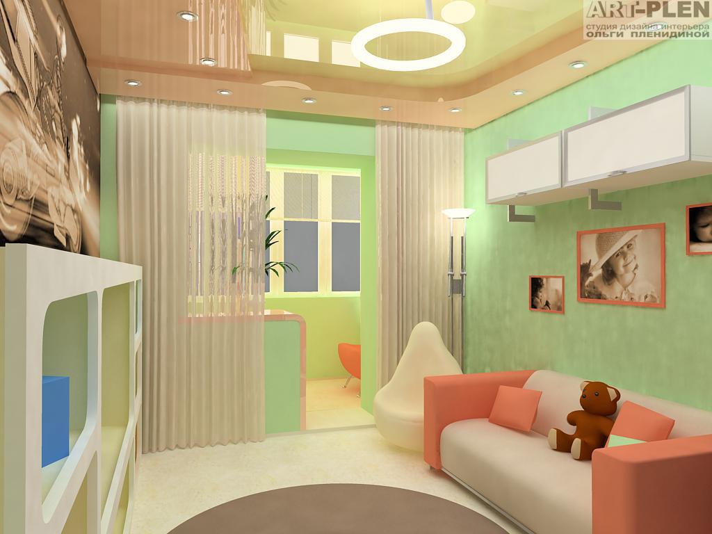 Дизайн детских комнат совмещенных с балконом.
