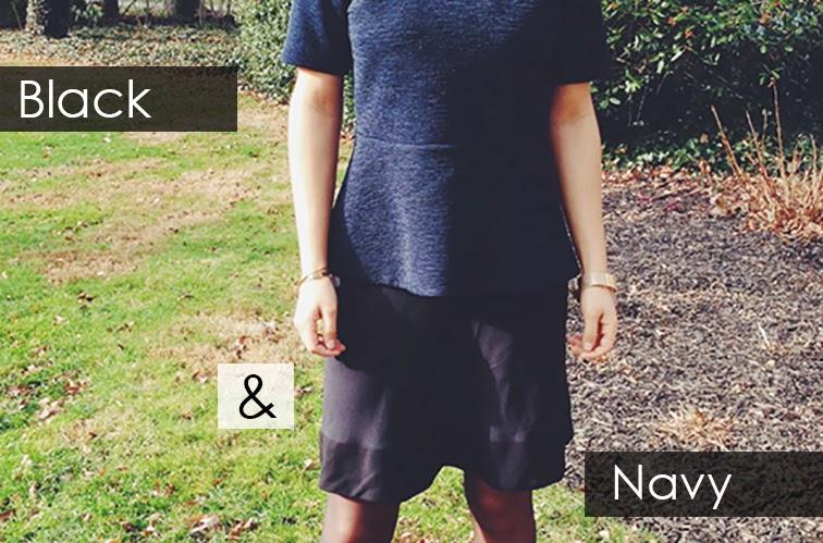 Black & Navy Balenciaga skirt COS navy peplum