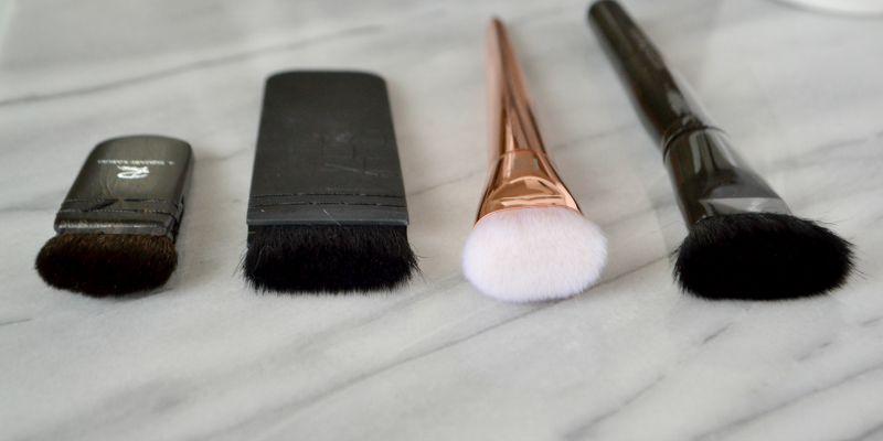 real techniques bold metals contour brush. l-r: rae morris square kabuki, nars ita, real techniques flat contour brush, models prefer buffing brush bold metals t