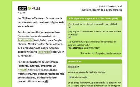 Convertir paginas web y documentos a formato Epub