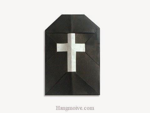 Cách gấp, xếp ngôi mộ Halloween bằng giấy origami - Video hướng dẫn xếp hình Halloween - How to fold a Grave