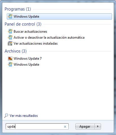 windows update imagen ventana de busqueda