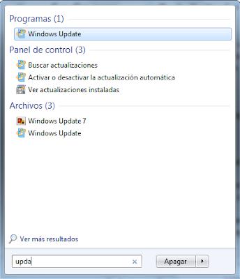 Программа Windows Update в результатах поиска