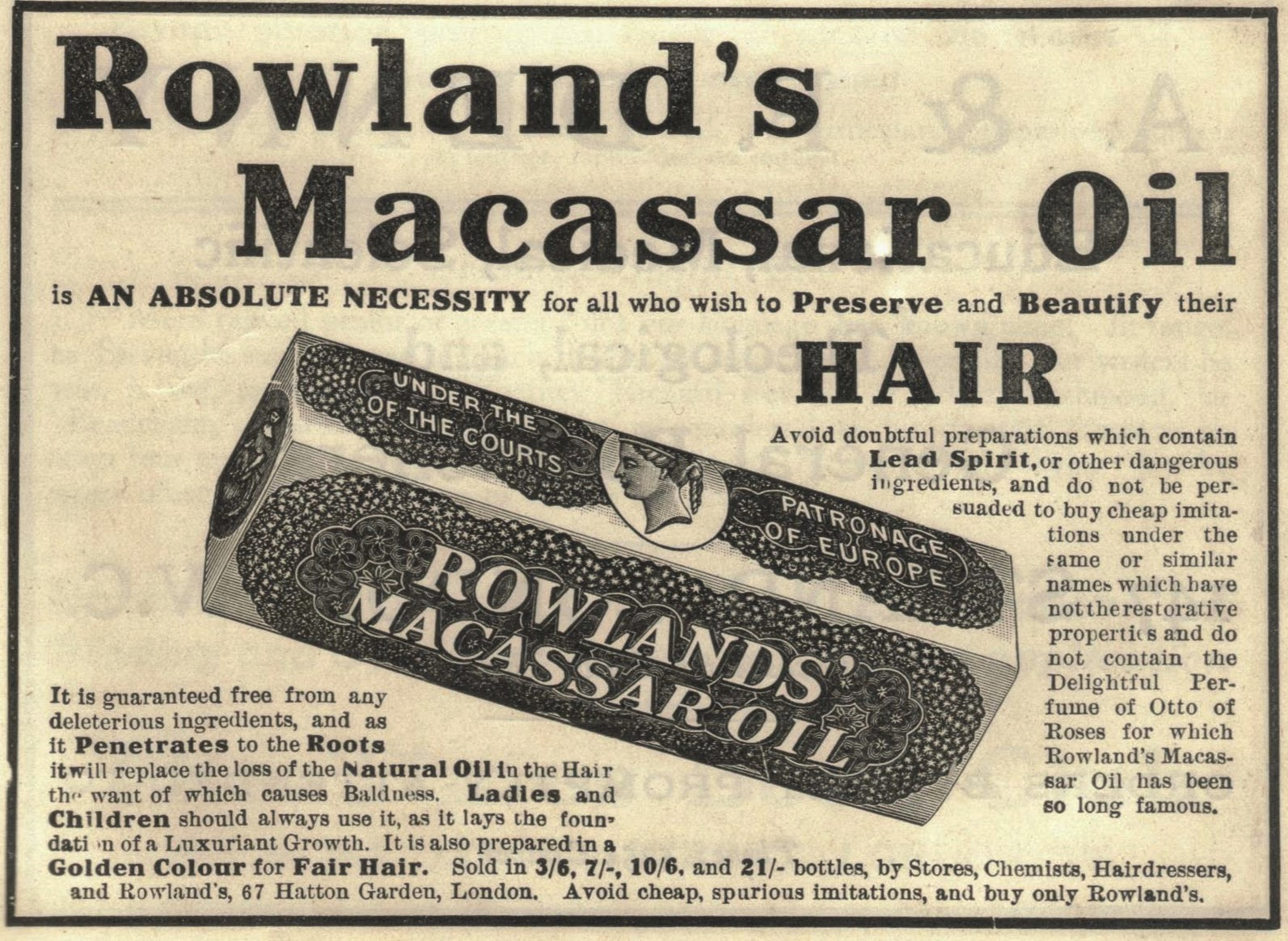 1914 advert for Macassar Oil