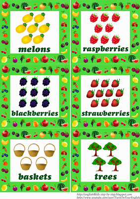 fruit flashcards with words in plural