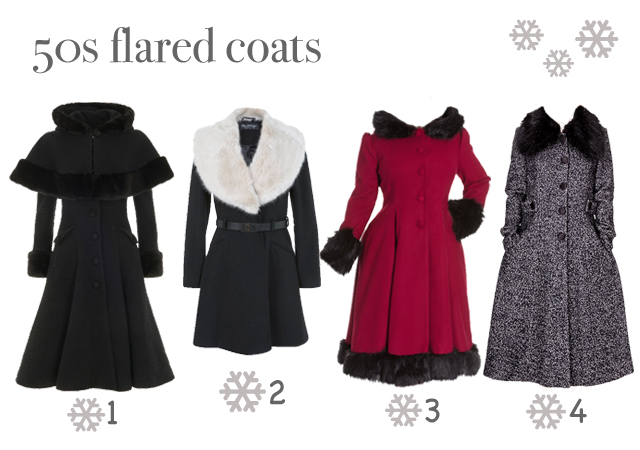 1950s style fit and flare coats with fur collars autumn winter 2015