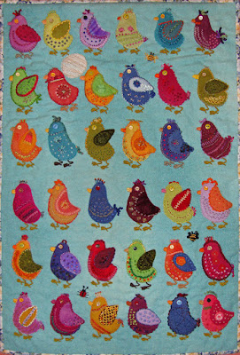 Chicks, a wall quilt by Glenys Baker, embroidery on wool applique