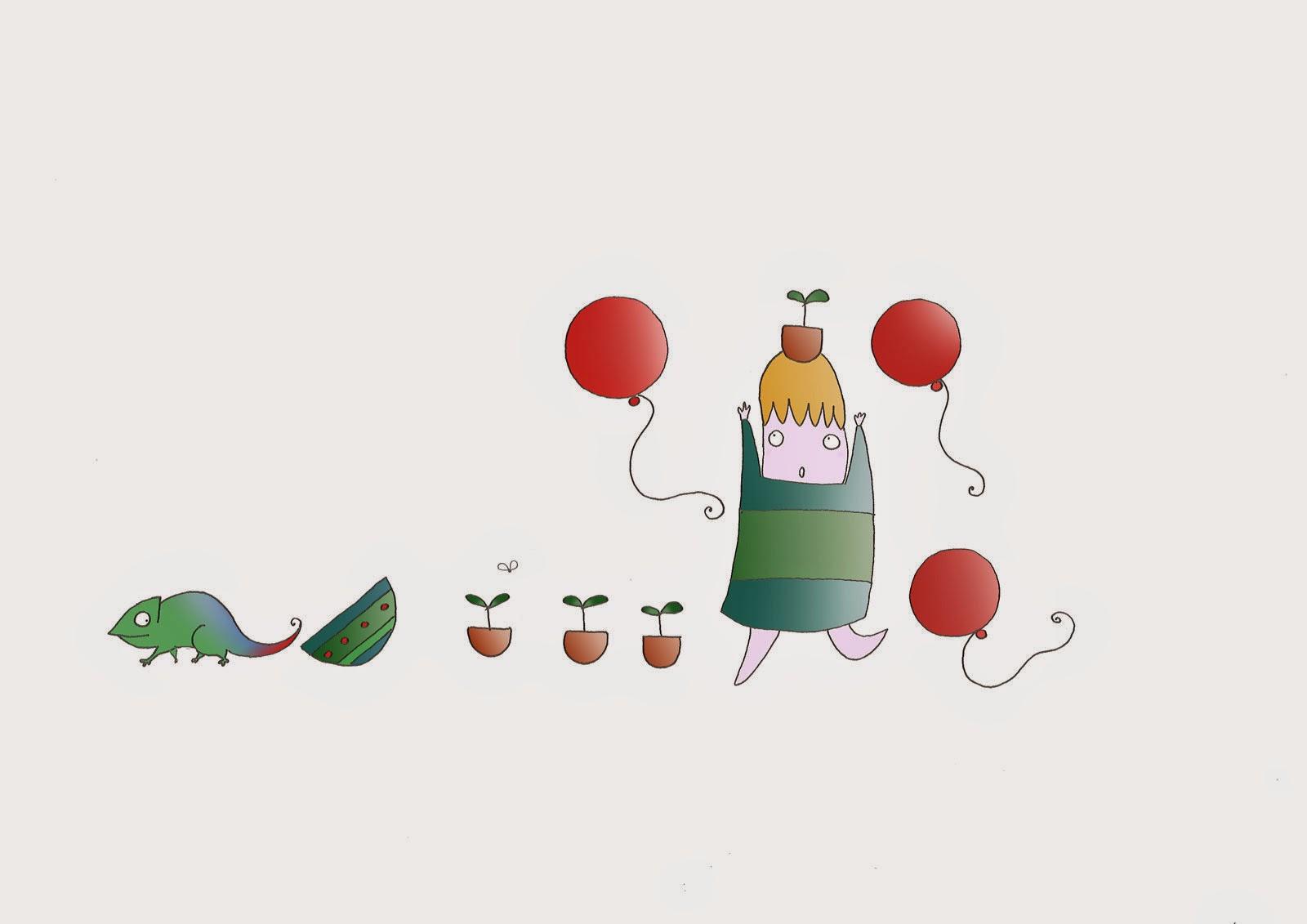 Disegno di bambino e palloncini