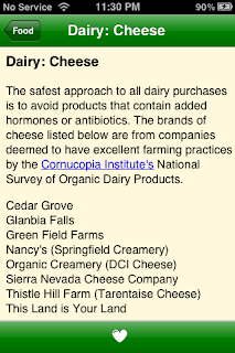 Dairy tips from Green Your Family iPhone App
