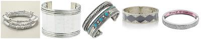 Chico's Tamera Stretch Bracelet $12.50 (regular $39.00)  Zad Hammered Rectangles Cuff $13.77 (regular $22.95)  BCBGeneration Mega Cuffs Mixed Media Bracelet $15.19 (regular $38.00)  The Limited Textured Chain Stretch Bracelet $17.97 (regular $29.95)  Juicy Couture Bangle Bracelet $18.70 (regular $34.00)
