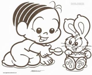 desenho da monica bebe com coelhinho para pintar