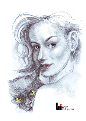Woman with a cat, portrait