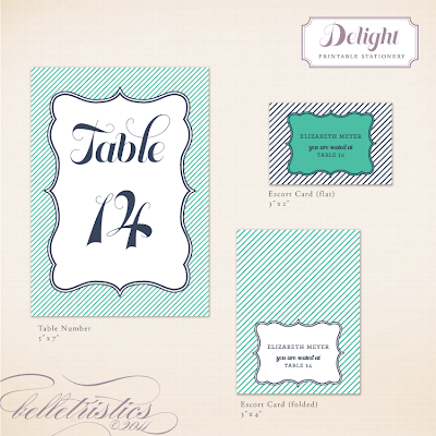 fun modern stripe printable table number escort card design