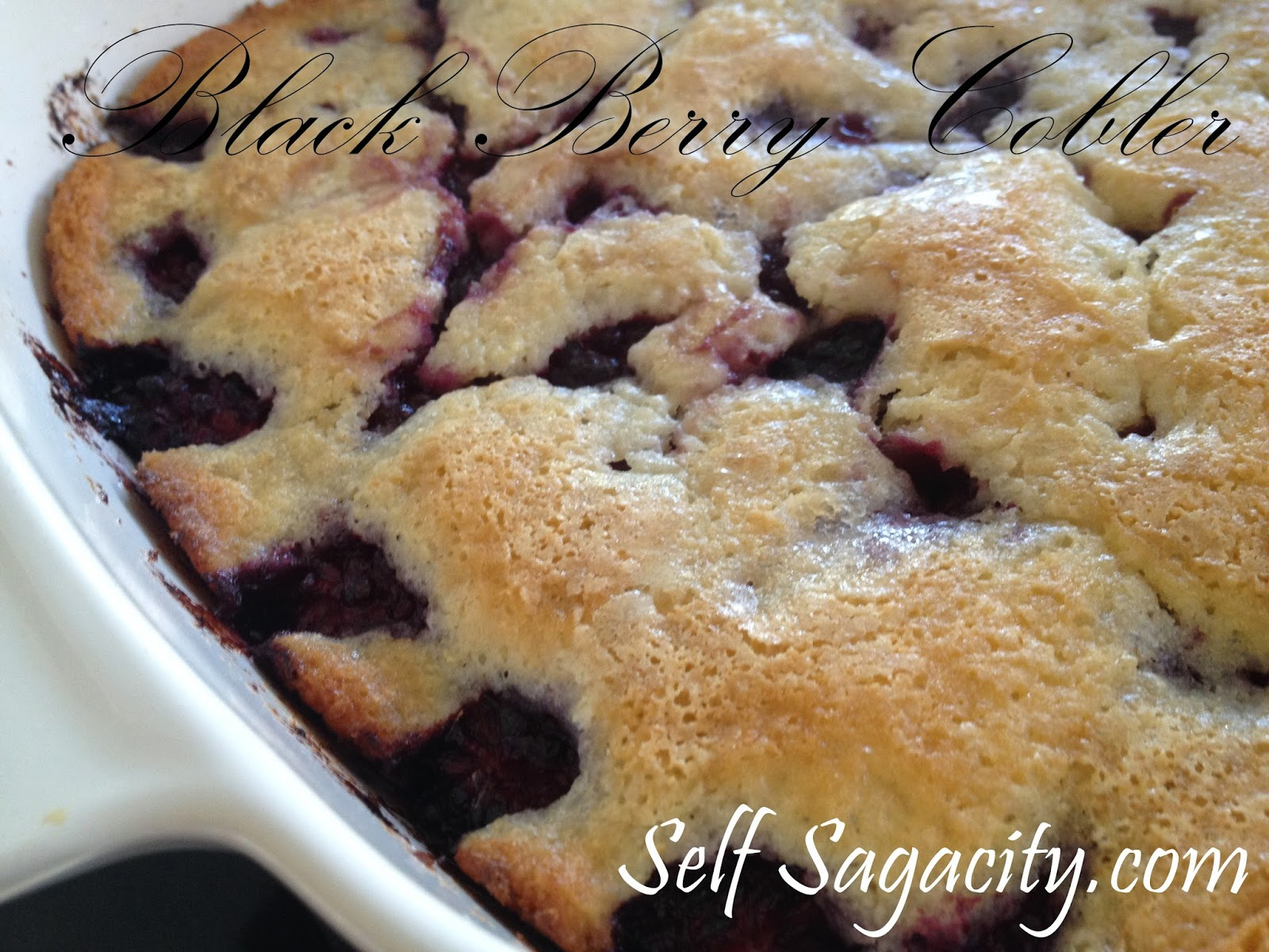 Blackberry cobbler in a cornware baking dish