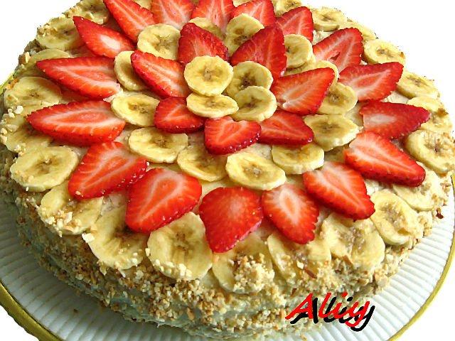 бананово клубничный торт рецепт