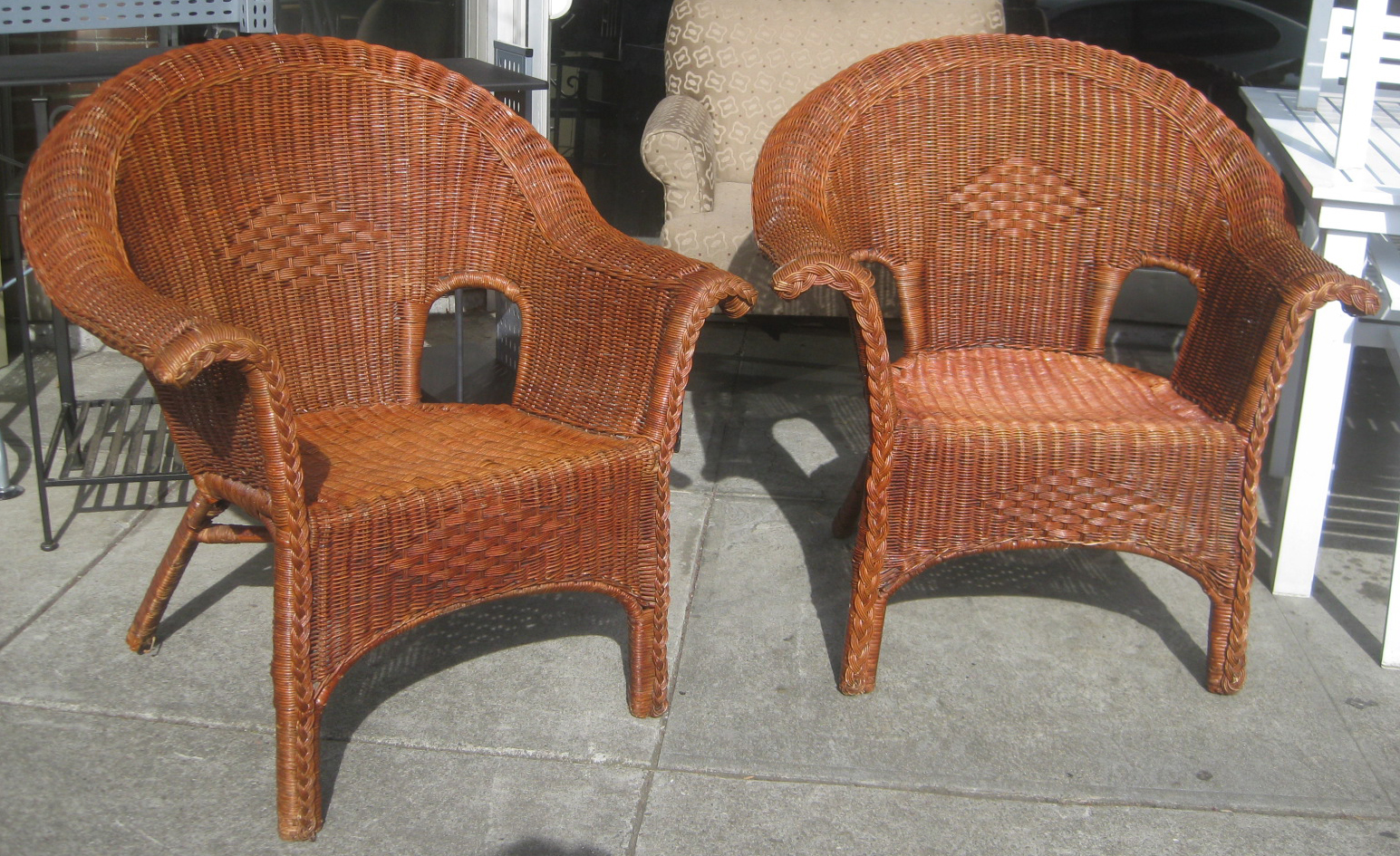 UHURU FURNITURE & COLLECTIBLES SOLD Wicker Patio Chairs $35 each
