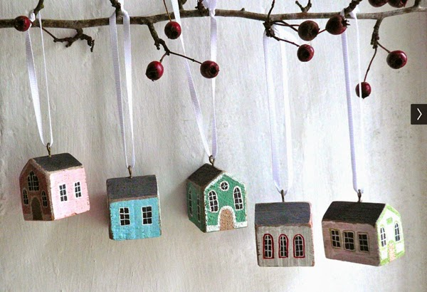 valeriane leblond painted wooden house ornament