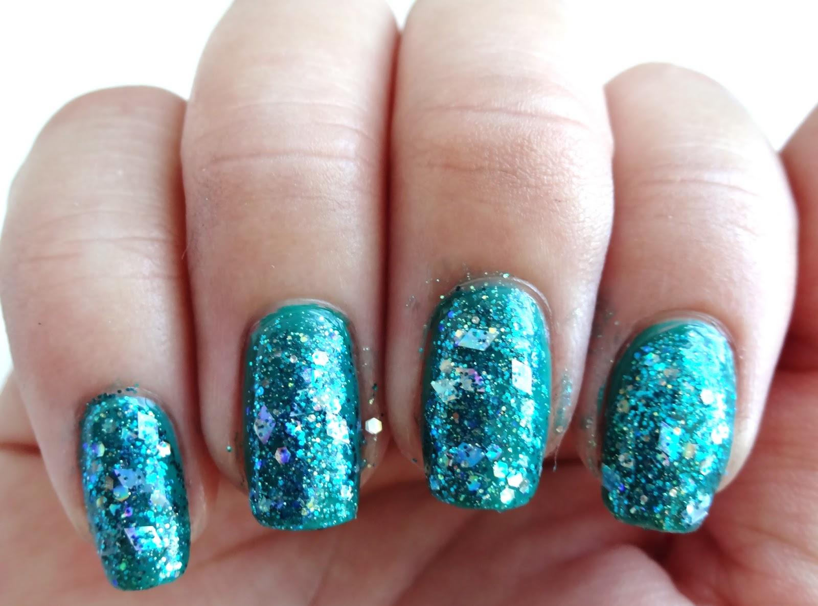 Teal Glitter Nail