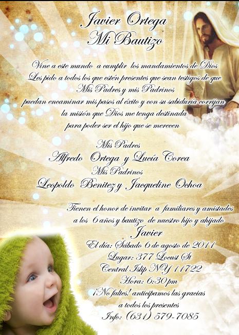 Artes DaVinci: Invitación de Bautizo color dorado con imagen de Jesus
