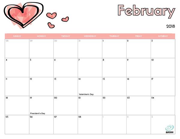 printable calendars 2018 february