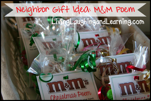Christmas m&m poem and gift idea
