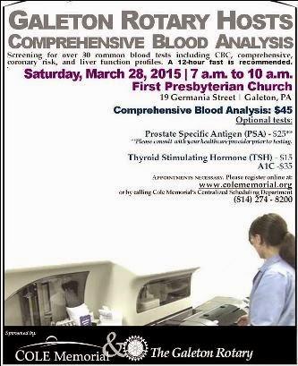 3-28 Galeton Rotary Hosts Blood Analysis