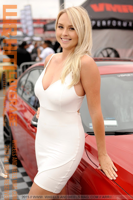 Beautiful Blonde Model Philecia La'Bounty in white drress for Vorsteiner Wheels at 2015 Bimmerfest Fontana