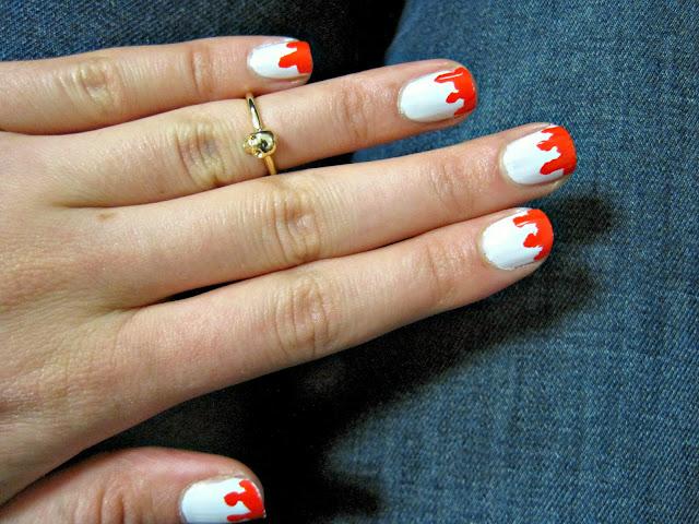 bloody nails nail manicure halloween essie hip anema swatch