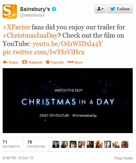 Sainsbury's Christmas In A Day promoted tweet