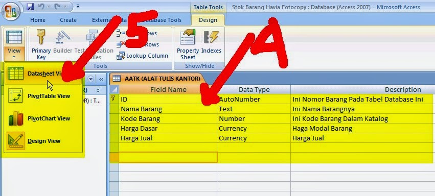 pada bagian table ini ada beberapa bagian struktur seperti, Field Name, Data Type, Description