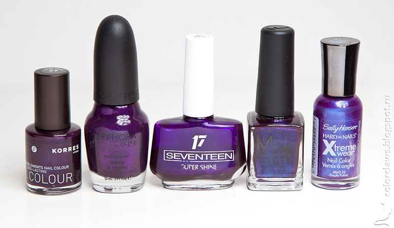 Korres Ultraviolet Sephora by OPI Just a Little Dangerous Seventeen #560 Misa Fatal Affair Sally Hansen Purple Potion