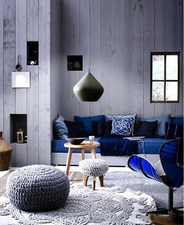 Canapé bleu, deco tendance