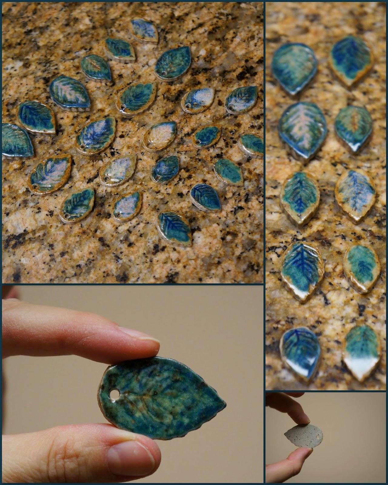 Unique handmade nature inspired ceramic stoneware leaf pendants