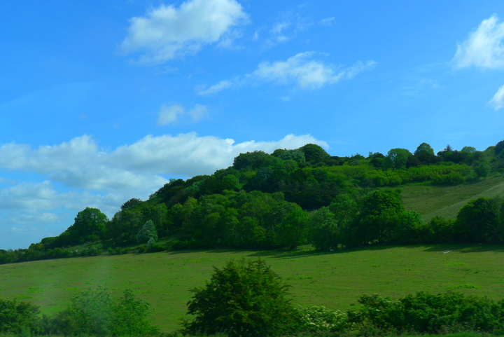 Rolling hills in the English countryside.