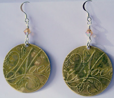 Noel: brass, sterling silver, Swarovski crystal, etching, OOAK earrings :: All Pretty Things