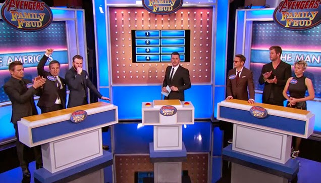 The host and the contestants of the game.