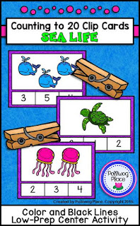 Counting to 20 Clip Cards - Sea Life - Math Center Activity