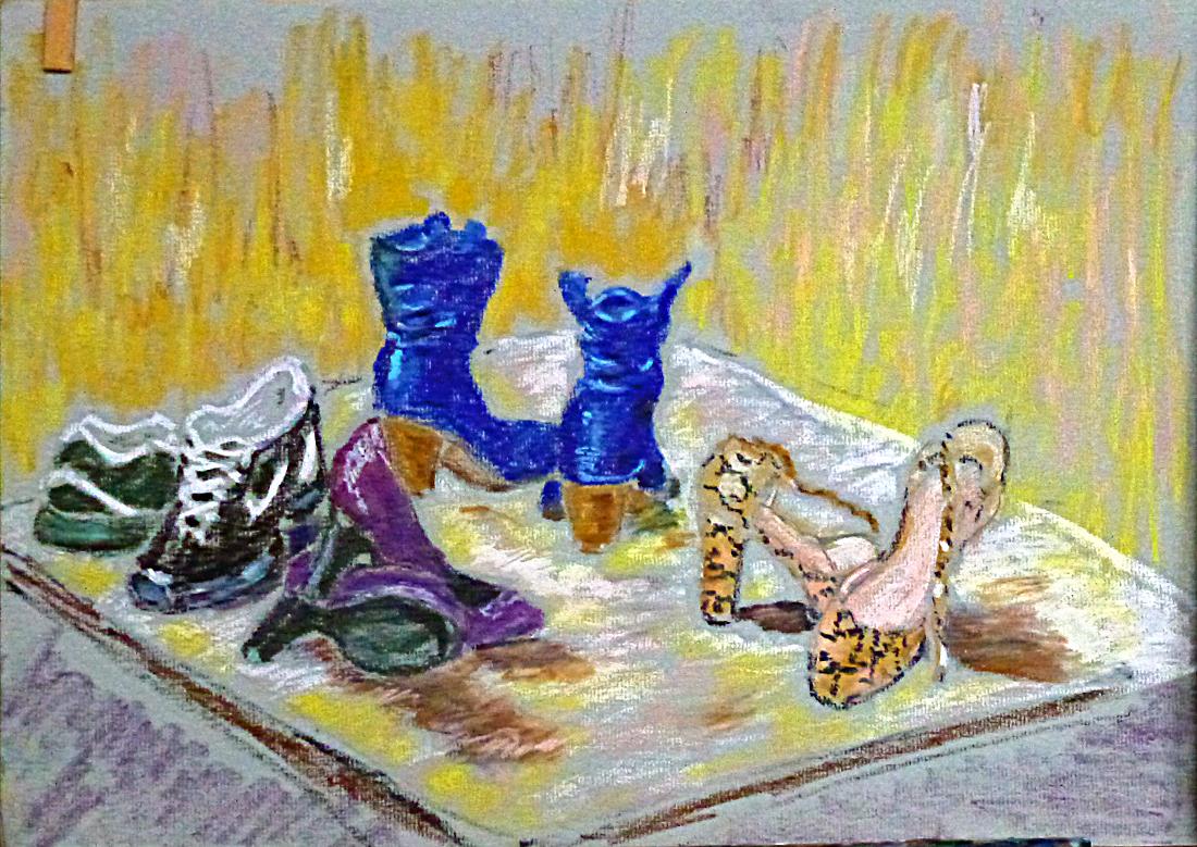 Art de vivre la peinture de peintrefiguratif abstrait pastels gras les chaussures for Peinture pastel gras