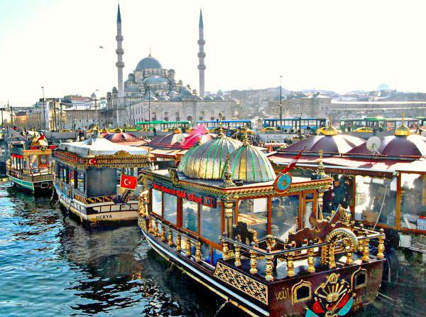 Galata bridge balik ekmek boat