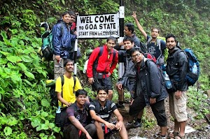 Our trekking group entering Goa state