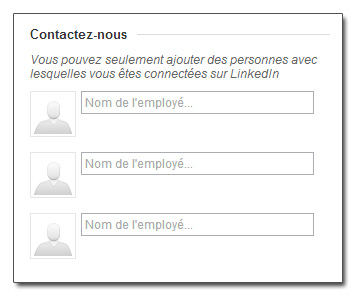 3 contacts par page produits LinkedIn