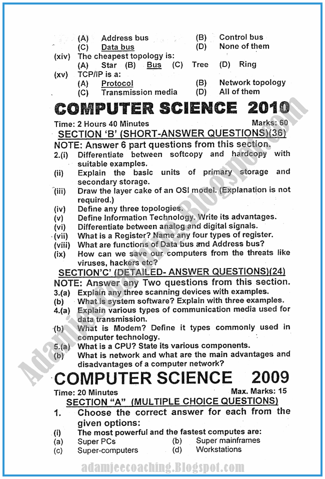 Computer-science-2010-past-year-paper-class-XI