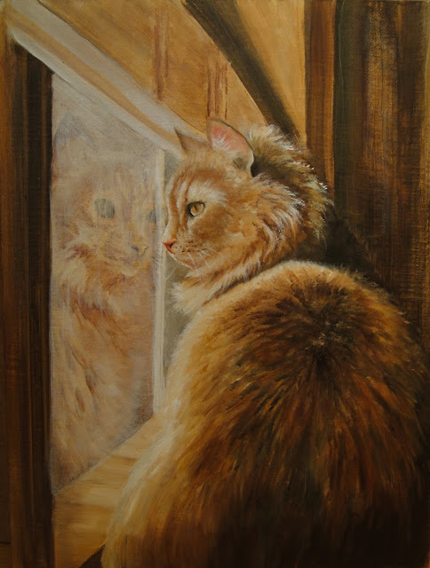Me, myself and I, oil painting of a cat looking at its own reflection