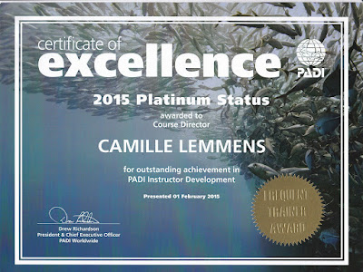 PADI Certificate of Excellence 2015 Platinum Status Course Director wall certificate