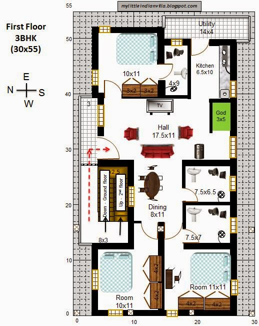 My little indian villa 26 r19 4 houses in 30x55 west for Floor plan for 4bhk house